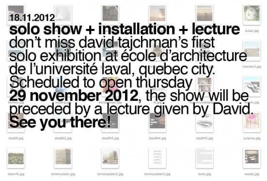 Conférence de David Tajchman et lancement d'exposition