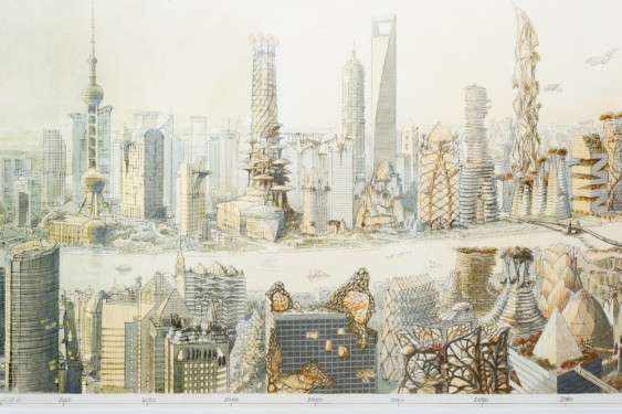 An original watercolour painting depicting an 'archiboreal' vision of a future Shanghai where trees and skyscapers intermingle. Future Vision of Shanghai, by Luc Schuiten; Shanghai, China, 2012