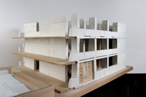 Partial model (1:20) of a social housing estate built with large limestone slabs. Project: Cornebarrieu Social Housing, by Perraudin Architecture; Cornebarrieu, France, 2011.