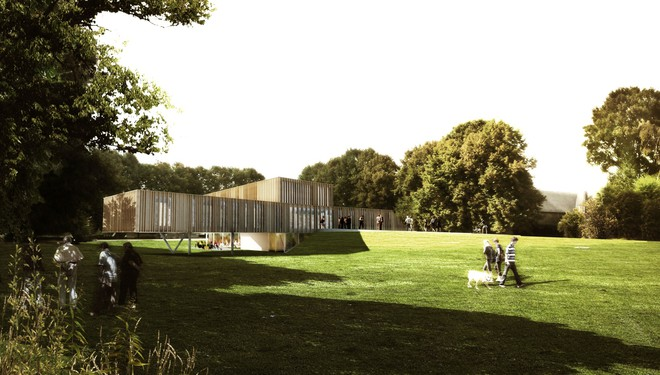 Montigny-le-Tilleul. Rénovation et extension de l'hôtel de Ville existant. Aménagement d'un parking de 65 places et d'un parc public par V+