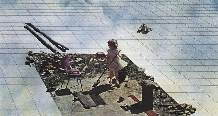 Superstudio, Atti Fondamentali. Vita – Supersuperficie. Pulizie di primavera, 1971. Lithograph. Detail.