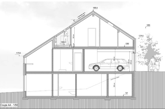 Extension d 39 une maison habay la neuve leitmotiv architecture wallon - Hauteur plafond maison ...
